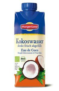 Bio Kokoswasser im Tetrapack von Morgenland auf weissem Grund