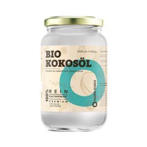 Bio Kokosöl CocoNativo vor weissem Hintergrund