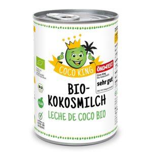 Coco King Bio-Kokosmilch - 6 Dosen vor weissem Hintergrund