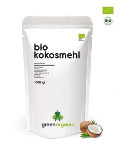 Bio Kokosmehl, Low-Carb Backen auf weissem Grund