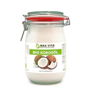 MeaVita Bio Kokosfett im Glas vor weissem Hintergrund
