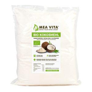 MeaVita Bio Kokosmehl in Verpackung auf weissem Grund
