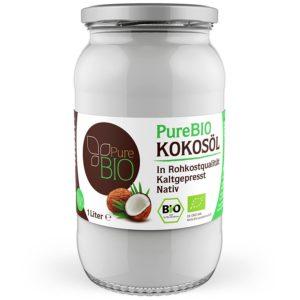 Kokosfett PureBio auf weissem Grund